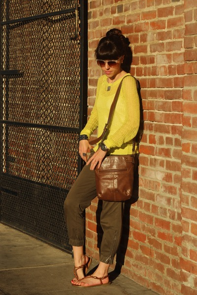 brown piperlime sandals - yellow Old Navy sweater