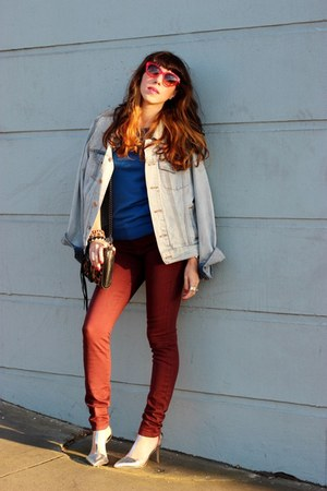 blue Forever 21 jacket - maroon Joes Jeans jeans - blue Jcrew sweater
