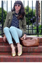 navy JCrew blouse - bronze JCrew bag - light blue JCrew pants