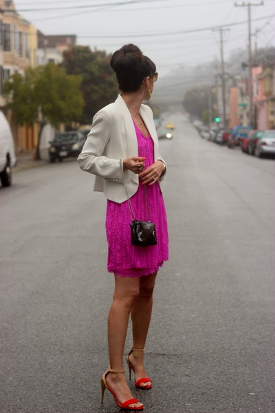 hot pink free people dress - ivory Mango blazer - silver DAndrea Handbags bag