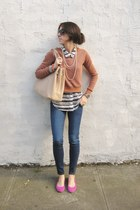 flats - jeans - sweater - bag - blouse