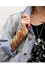 Black-urban-outfitters-dress-blue-forever-21-jacket