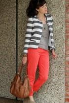 heather gray Zara blazer - tawny JCrew bag - coral JCrew pants