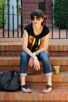 carrot orange piperlime top - blue Current Elliott jeans - black Zara bag