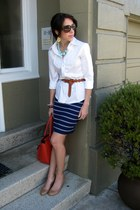 banana republic skirt - banana republic shirt - Kelly & Katie bag