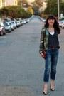 Blue-gap-jeans-charcoal-gray-h-m-jacket-bronze-h-m-belt