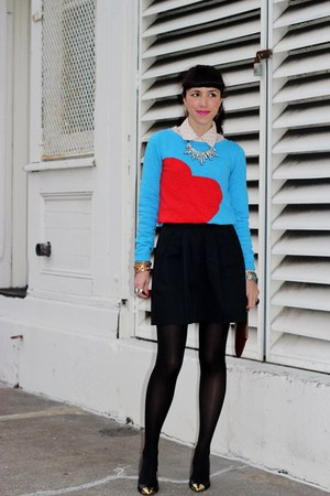 black Chinese Laundry heels - blue Target sweater - black Zara skirt