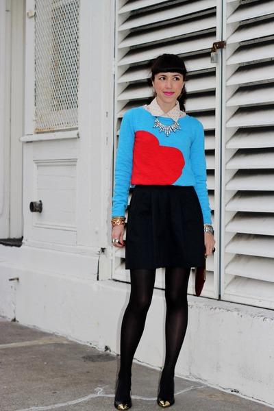 black Chinese Laundry heels - blue Target sweater - black Zara skirt
