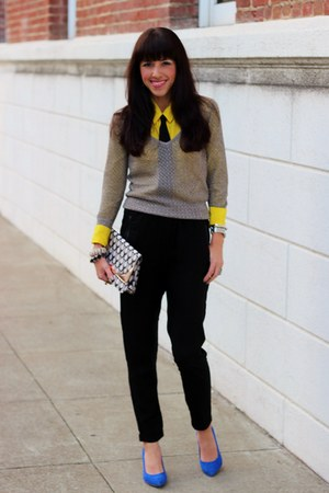 yellow JCrew blouse - silver The Limited sweater - light purple H&M bag