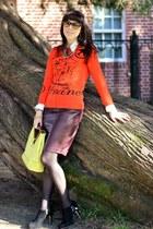 burnt orange Jcrew sweater - black vincent camuto boots