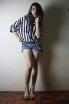 denim shorts shorts - sheer polo blouse - tan wedge Parisian wedges - braided be