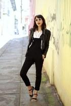black Sheinside jacket - white lace Sheinside shirt
