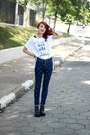 Black-romwe-boots-navy-cross-oasap-jeans-white-rock-ufreakb-t-shirt
