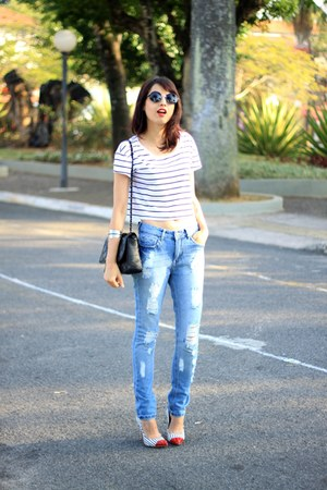 light blue destroyed YOUCOM jeans - navy scarpin My Shoes Itu shoes