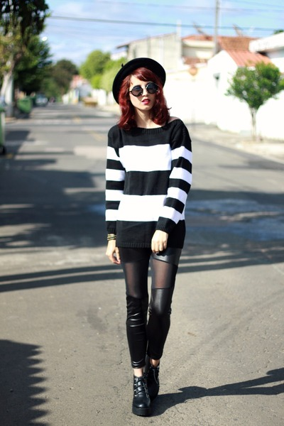black romwe boots - black romwe hat - white stripes Bad Liten sweater