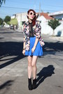 Black-oasap-boots-navy-floral-print-chicwish-blazer