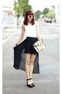 Black-arezzo-heels-white-lace-sheinside-shirt-yellow-youcom-bag