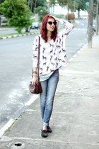 brown Levis bag - light pink horse Sheinside sweater
