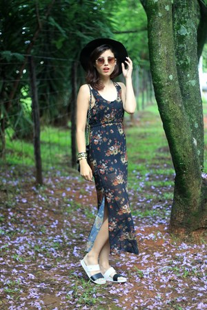 black floral print rosewe dress - white birken Melissa flats
