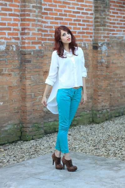 brown OASAP boots - white Della Acessorios shirt - light blue pants