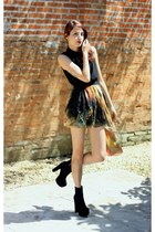 black OASAP boots - black romwe dress - yellow romwe skirt