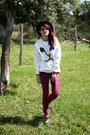Ruby-red-velvet-romwe-leggings-black-creepers-qix-boots-black-romwe-hat