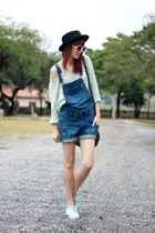 black romwe hat - sky blue creepers Petite Jolie shoes - dark brown Levis bag