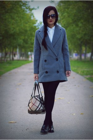 heather gray PERSUNMALL coat - Burberry bag