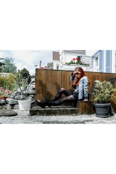 sky blue denim vintage jacket - tawny TUK shoes - black velvet thrifted shirt