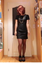 black leather Sweewe dress - black polka dot Primark tights