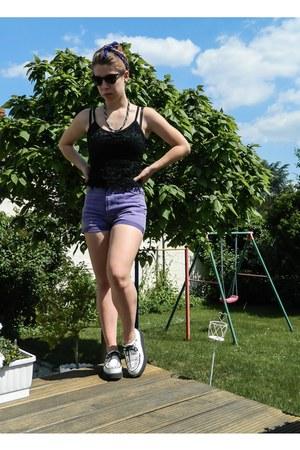 white creepers TUK shoes - light purple high waisted vintage shorts