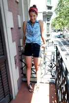 light blue H&M shirt - red headband random scarf - black high waisted H&M shorts