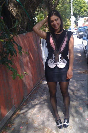 black vest - black American Apparel dress - black American Apparel tights - blac
