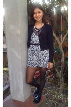 black cardigan - gray Urban Outfitters accessories - dress - black American Appa
