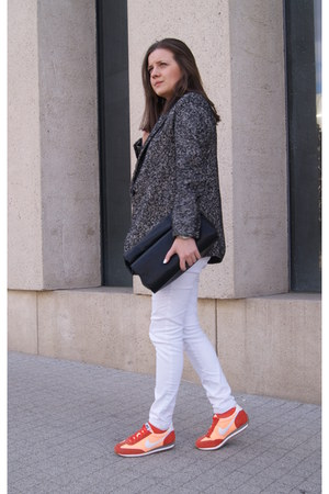 white Only jeans - charcoal gray DIY jacket - black Zara bag