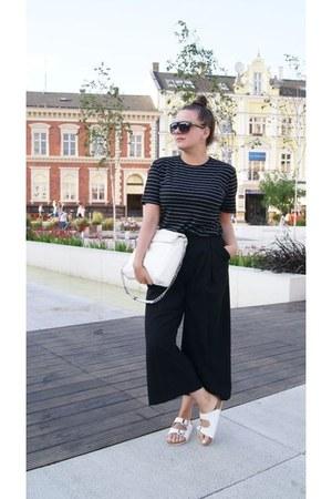 black H&M pants - white Parfois bag - white c&a flats