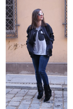 black DIY jacket - heather gray Cheap Monday t-shirt