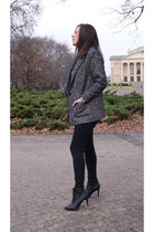 charcoal gray DIY jacket - black H&M boots - silver DIY necklace