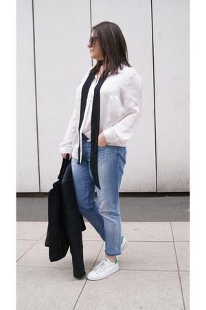 black mypointmystyle scarf - blue calvin klein jeans - black Cluse watch