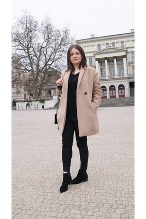 camel Promod coat - black Mango boots - white mypointmystyle bracelet