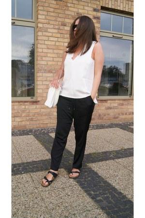 white Parfois bag - black H&M pants - white Zara top