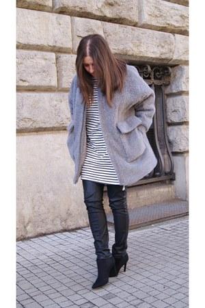 heather gray DIY jacket - white striped Zara dress