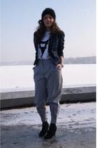 navy Zara blazer - black headband Vinatge accessories - heather gray sewed by my