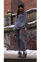light brown no brand boots - heather gray sweater - light brown sewed by my mum