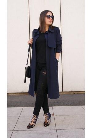 black Parfois bag - navy Zara heels