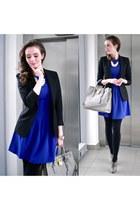 heather gray Zara boots - blue H&M Trend dress - black Zara blazer