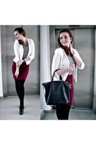 black CCC boots - white Zara jacket - black batycki bag - brick red H&M skirt