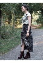 dark gray H&M skirt - crimson Bristol boots - aquamarine flower H&M top