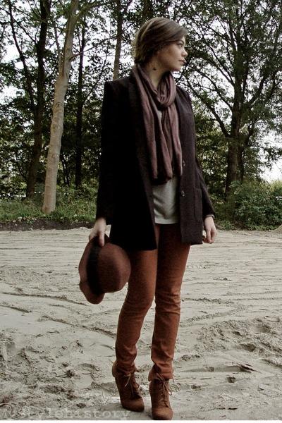 black H&M blazer - crimson SIX scarf - dark khaki H&M top