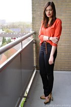 black skinny H&M jeans - carrot orange H&M top